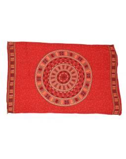 Sarong s ručným tlačou, červený, Mandala, slony, 110x170cm