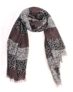 Šatka z bavlny, čierny, potlač drobných kvetov 100x174cm