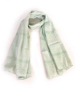 Bavlnený šatka s kvetinovým vzorom, bledo zelený, 185x75cm