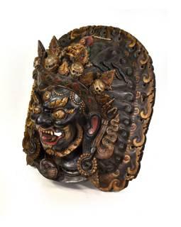 Drevená maska, Bhairab sa soškou Budhu, ručne maľovaná, 60x64cm