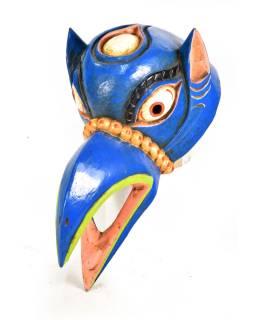 Drevená maska, vrana, ručne maľovaná, 16x30cm