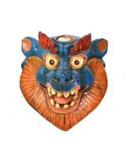 Drevená maska, snežný lev, ručne maľovaná, 20x23cm