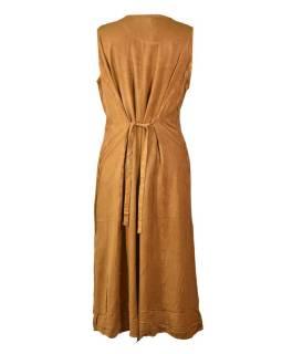 Dlhé voľné hnedo-oranžové šaty bez rukávov, výšivka, viazanie na chrbte