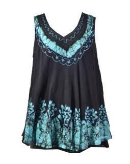 Letný čierno-modrá voľná blúzka, ručná výšivka, krátky rukáv