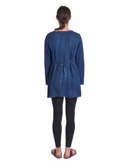 Dlhé khaki šaty bez rukávov, výšivka, opasok