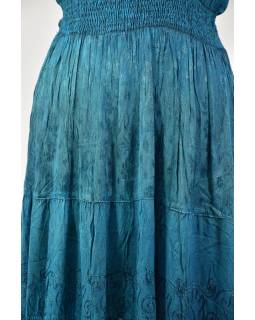Dlhé tyrkys šaty bez rukávov, výšivka, opasok