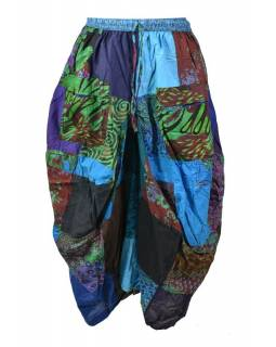 Balónová sukňa s potlačou, patchwork dizajn, tyrkysová