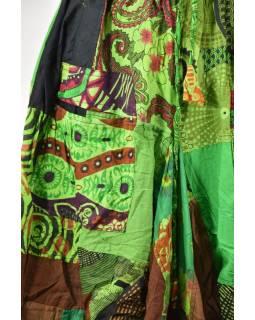 Balónová sukňa s potlačou, patchwork dizajn, zelená