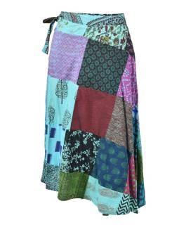 Dlhšia zavinovacie sukne s potlačou, patchwork dizajn, tyrkys, viazačka