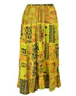 Dlhá žltá patchworková sukňa, kombinácia potlačí, pružný pás