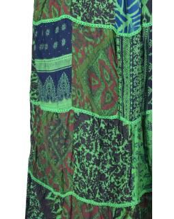 Dlhá zelená patchworková sukňa, kombinácia potlačí, pružný pás