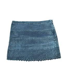 Krátka sukňa zapínaná na zips, modrá, stonewashed dizajn