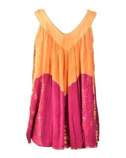 Letné blúza bez rukávov, batika, oranžovo-ružová