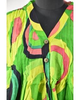 Letné blúza s potlačou a gombíkmi, round dizajn, zelená