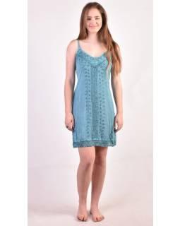 Ľahké krátke tyrkysové šaty na ramienka, výšivka, viazanie na chrbte