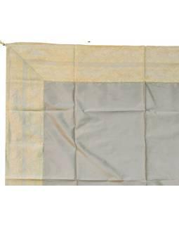 Obrus na stôl, strieborný, brokát, 150x150cm