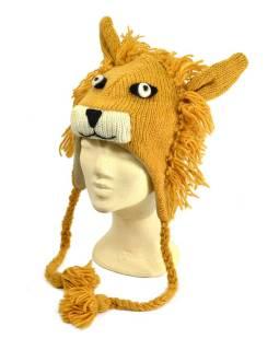 Čiapka s ušami, lev, vlna, podšívka