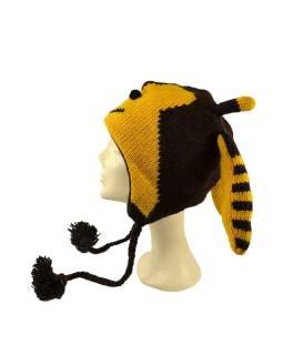 Čiapka s ušami, včielka, vlna, podšívka