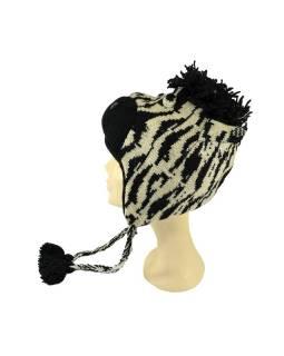 Čiapka s ušami, zebra, vlna, podšívka