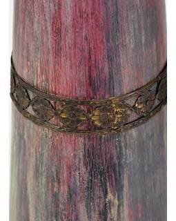Váza z palmového dreva, zdobená mosadzným kovaním, 12x12x58cm