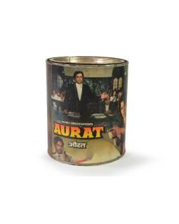 """Antik plechová škatuľa """"aurata"""", guľatá, priemer 14cm, výška, 16cm"""