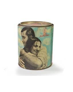 "Antik plechová škatuľa ""KSPictures"", guľatá, priemer 14cm, výška, 16cm"