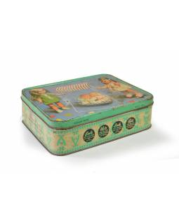 Antik plechová škatuľa, bábiky, 20x15x6cm