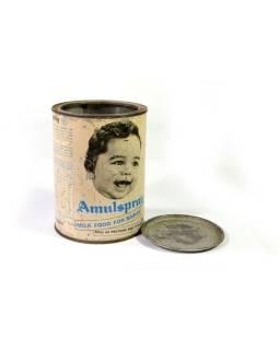 Antik plechová škatuľa, Amulspray, výška 15cm, priemer 11cm