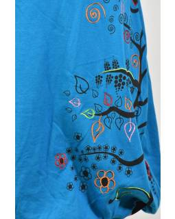 Krátka tyrkysová balónová sukňa, Tree dizajn, kombinácia tlače a výšivky