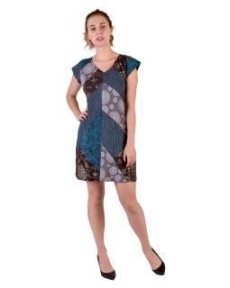 Krátke šaty s krátkym rukávom, modro-šedý patchwork, Patch design