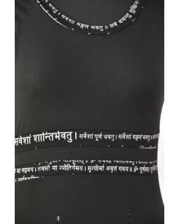 Čierne šaty bez rukávov s potlačou mantry a kvetín, bio bavlna