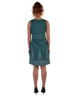 Zelené šaty bez rukávov s potlačou mantry a kvetín, bio bavlna