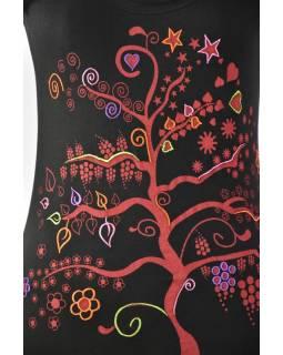 """Čierne tričko s krátkym rukávom a čiernym potlačou """"Tree"""" dizajn"""