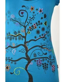 """Tyrkysové tričko s krátkym rukávom a čiernym potlačou """"Tree"""" dizajn"""