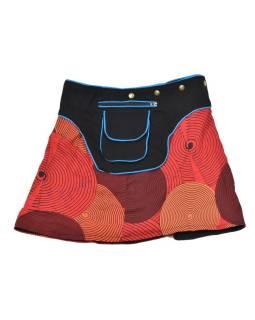 Krátka červená sukňa zapínaná na patentky, vrecko, spiral print