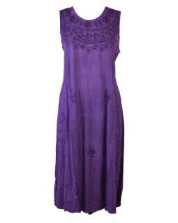 Dlhé voľné fialové šaty bez rukávov, výšivka, viazanie na chrbte