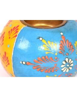 Drevený, ručne maľovaný svietnik, 9x9x6cm