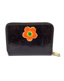 """Peňaženka design """"Flower"""" maľovaná kože, čierna 15x10cm"""