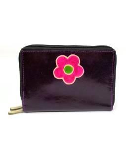 """Peňaženka design """"Flower"""" maľovaná koža, tmavo fialová, 15x10cm"""