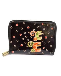 """Peňaženka design """"Two Cats"""" maľovaná kože, čierna, 15x10cm"""