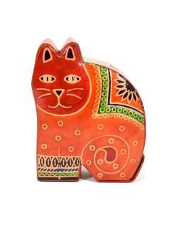 Pokladnička, maľovaná kože, malá mačka, oranžová, 9x11cm