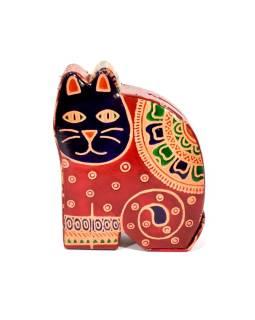 Pokladnička, maľovaná kože, malá mačka, červená, 9x11cm
