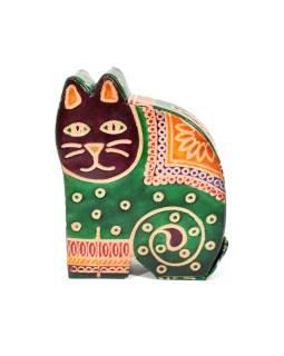 Pokladnička, maľovaná kože, malá mačka, zelená, 9x11cm