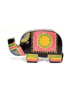 Pokladnička, maľovaná koža, malý slon, čierna, 9x14cm