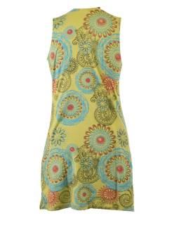 Krátke zelené šaty bez rukávov, farebný mandala potlač