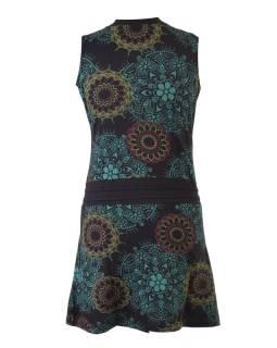Čierne šaty bez rukávov s mandala potlačou, šnúrka, výšivka