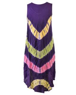 Krátke farebné šaty bez rukávov, výšivka