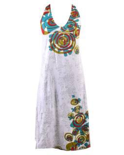 Dlhé šaty bez rukávov s potlačou flower mandala, biele