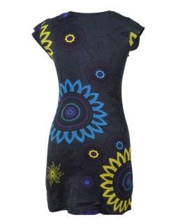 Čierne šaty s krátkym rukávom a potlačou flower mandala