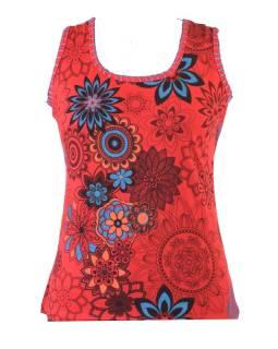 Červené tielko s potlačou, Flower design